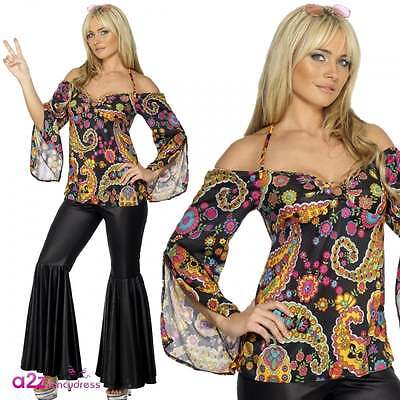 60s Psychedelic Hippie Flares & Top 70s Retro Adult Ladies Fancy Dress Costume