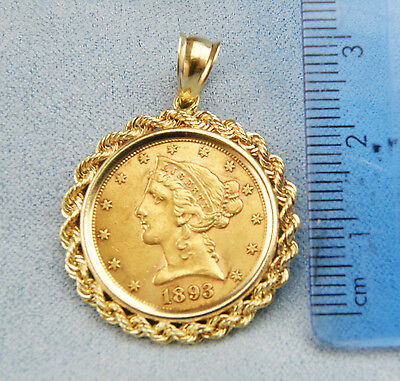US 1893 Five Dollar Liberty Head Gold Coin Pendant-Set in 14K Gold Bezel