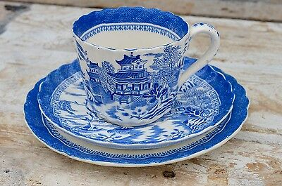 Antique Copeland Willow Pattern Blue & White Trio Cup Saucer Plate