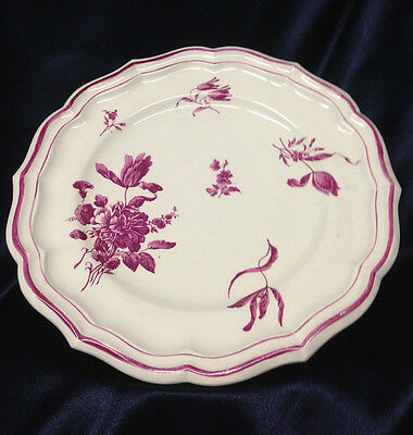 """Gien France Round Footed Platter Or Cake Plate 9 7/8"""" Pink Flowers & Pink Trim"""
