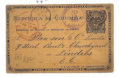 EE44 1889 Colombia Posta Stationery Postcard French Paquebot Transit PTS