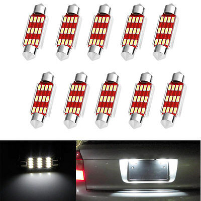 10X 41mm 4014 12 SMD LED Canbus Festoon Dome Lamp Car License Plate Light C5W