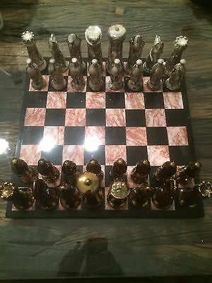 Vintage Chessboard In Marble And Porcelain RARE