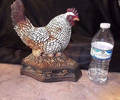 Antique Chicken W/chick Cast Iron Doorstop Metal Art