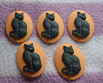 Lot of 5 - Black Cat on Orange - 40mm x 30mm Resin Cabochon - Halloween!