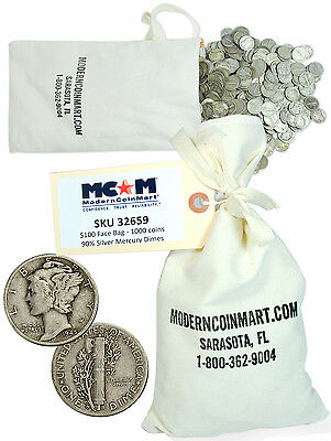 $100 Face Bag - 1000 Coins - 90% Silver Mercury Dimes Avg Circulated SKU32659
