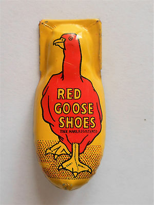 Vintage Red Goose Shoes Advertising toy clicker litho tin