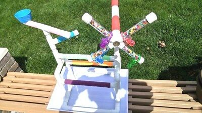 """Custom 1/2"""" PVC Parrot Perch WindMill GymStand -with PAN !!"""