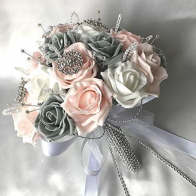 Bride, Bridesmaids, Buttonholes Pink White Grey Roses Artificial Wedding Flowers