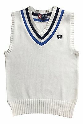 Chap's Boy's Size 5 White V-Neck Sweater Vest Cable Knit Top NEW SOILED $40