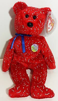 """TY Beanie Babies """"DECADE (red)"""" 10th Anniversary Teddy Bear - MWMTs! GREAT GIFT!"""
