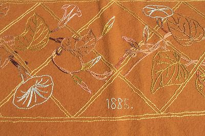 1885 Victorian Aesthetic movement embroidered curtain valance Arts and Crafts