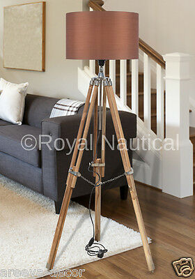 Nautical Wooden Tripod Wood Floor Lamp Vintage Antique Look Home Decor Lighting