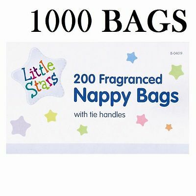 1-1000 Disposable Baby Fragranced Scented Nappy Bags Hygienic Sack Tie Handle