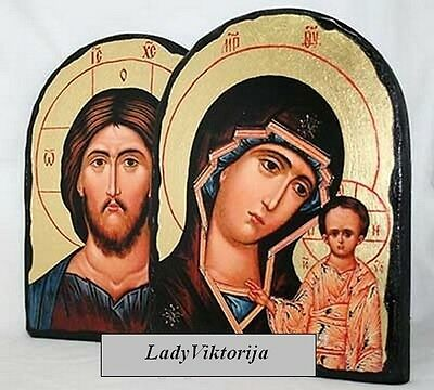 Handmade PAIR ICON JESUS & MOTHER OF GOD OF KAZAN / wedding wood icons