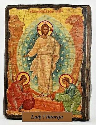 Handmade ORTHODOX icon Resurrection of Jesus Christ  Воскресение Христово