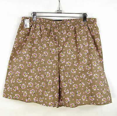 Vintage 90's Basic Editions Cotton Shorts Womans L Elastic Waist Pink Floral New