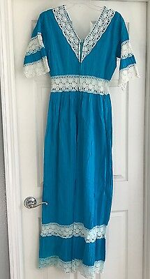 Womens Mexican Long Costume Dress Vintage Handmade Cotton Turquoise Size L