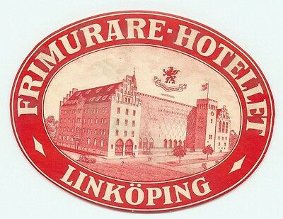 Linkoping Sweden Primurare Hotellet Great Old Luggage Label