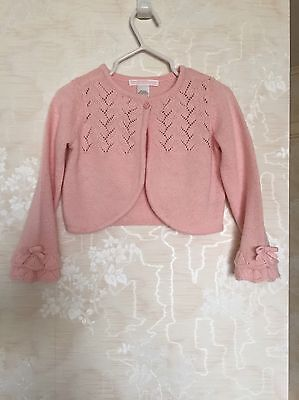 Janie And Jack Toddler Girls Pink Pointelle Shrug Cardigan Wool Blend 18-24 Mos