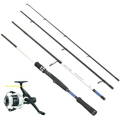FLADEN Fishing WARBIRD 4 Piece Travel LRF Spin Rod & Reel Combo with Line