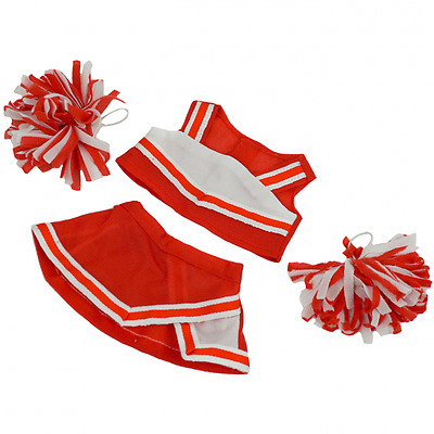 """Red Cheerleader Outfit Teddy Bear Clothes to fit 8""""-10"""" bears"""