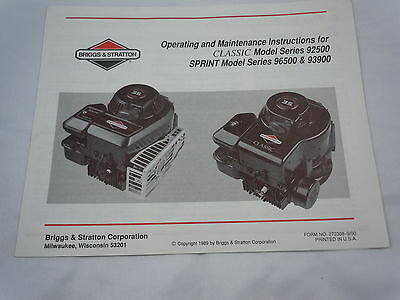 Briggs & Stratton Instructions for Classic & Sprint Models