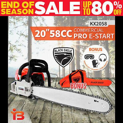 "NEW BlackEagle 58cc Commercial Petrol Chainsaw EStart 20"" Chain Saw Tree Pruning"