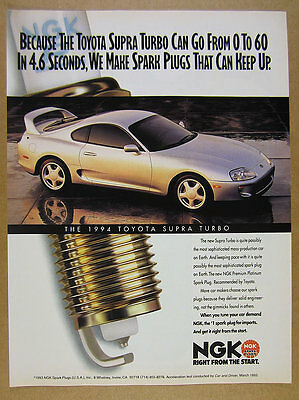 1994 Toyota Supra Turbo silver car photo NGK Spark Plugs vintage print Ad