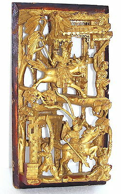 Chinese Gilt Hand Carved War Gods Wooden Panel Intricate Gold