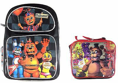"Five Nights at Freddy's Large Backpack 16"" Boys School Book Bag Plus Lunch Bag …"