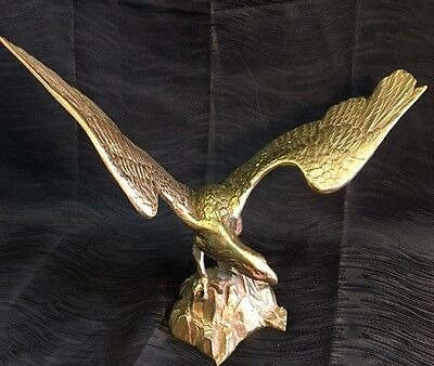"Vintage Large 12"" Brass Eagle Figure Statue Perched on Rock 15"" Wingspan Antique"