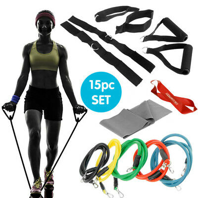 New 15pc Resistance Tubes Band Set Power Gym Fitness Exercise Yoga Workout Wrist