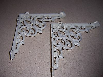 2 Antique-Style Victorian Cast Iron Shelf Brackets