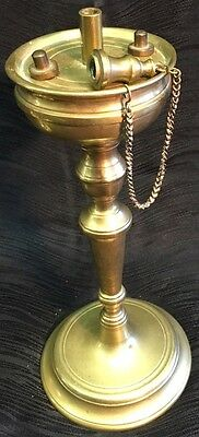 """Fine Antique 1800's Brass Whale Oil Lamp Candlestick Large 9"""" Rare Flat Top"""