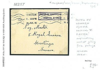 DBM217 1915WW1 Posted Wounded Soldier Exeter Hospital Handstamp/Hastings
