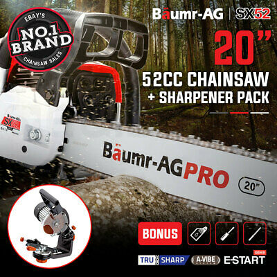 "NEW BAUMR-AG 52cc Petrol Commercial Chainsaw 20"" Bar E-Start Chain Saw Sharpener"