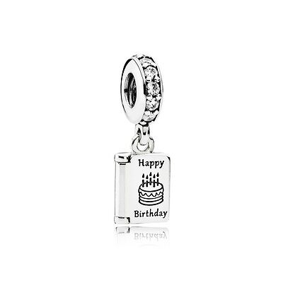Authentic Pandora Charm Sterling Silver 791723CZ Birthday Wishes Card Dangle