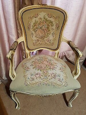 Exquisite antique french louis xv tapestry fabric chair vintage chabby chic