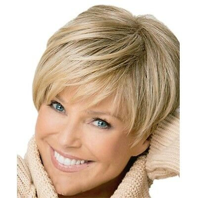 Natural Light Blonde Straight Short Hair Wigs Women's Fashion Party Full Wig Hot