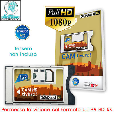 CAM TivuSat HD CERTIFICATA TV SAT SMARCAM HD MARCA DIGIQUEST SENZA SMART CARD