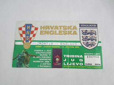 2008 EUROPEAN CHAMPIONSHIP QUALIFIER CROATIA  v ENGLAND TICKET STUB