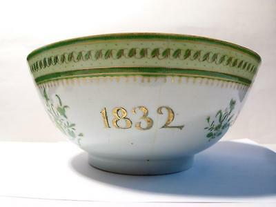 Antique 1832 John Kearsley Brig Concord of Whitby Yorkshire Chinese Export BOWL