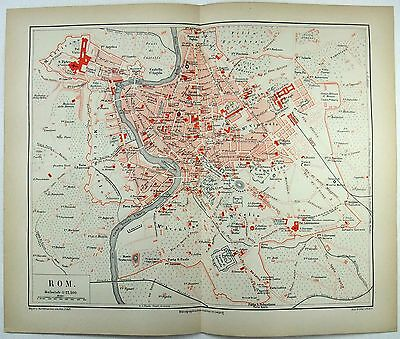 Original 1874 City Map / Plan of Rome, Italy - Vintage Chromolithograph