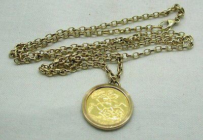 22ct Gold Half Sovereign Coin In  Gold Pendant Mount On Heavy Solid Gold Chain