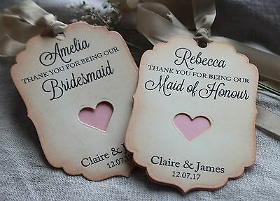 THANK YOU FOR BEING OUR BRIDESMAID-MAID OF HONOUR TAGS-Vintage-Personalised-PINK
