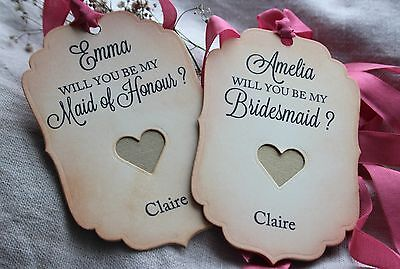 WILL YOU BE MY BRIDESMAID-MAID OF HONOUR TAGS-Vintage Style-Personalised-GOLD