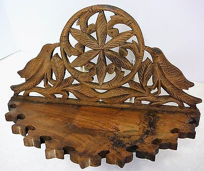 Vintage Hand Carved Birds Wooden Folding Wall Mount Shelf Made In Indonesia