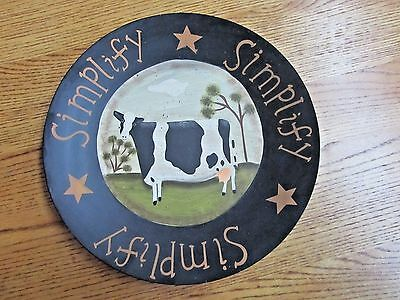 Cow In The Pasture Wooden Plate Primitive Country Decor!