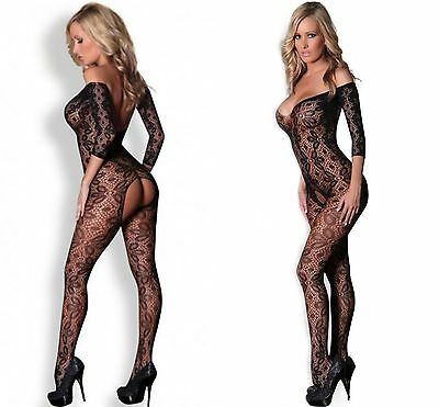 Women Black Lace Floral Open Tight Super Decollete Body Stockings Size 8-12